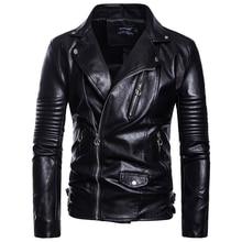 2018 large size S-5XL Men casual Puff sleeve leather clothing autumn winter coat belt decorate Zipper wristband Leather jacket