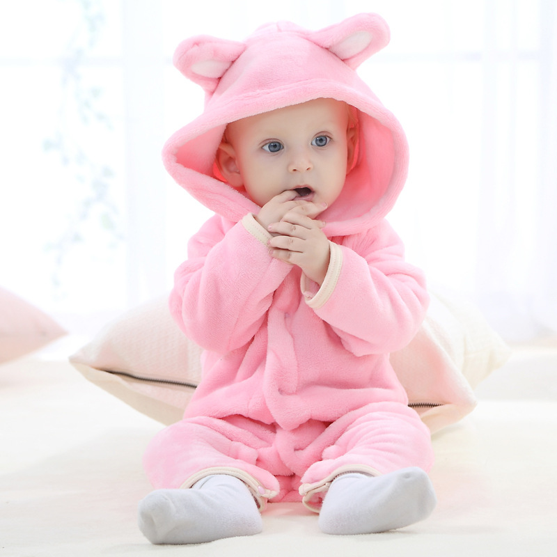 Autumn Winter Baby Rompers Bear Style Baby Coral Fleece Hoodies Jumpsuit Baby Girls Boys Romper Newborn Toddler Clothing Onepiec