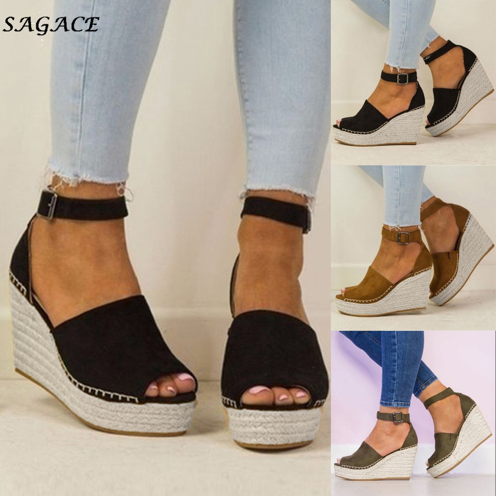 SAGACE Shoes Women Fashion Dull Polish Sewing Peep Toe Wedges Hasp Sandals Flatform Shoes zapatos mujer Sandals Summer