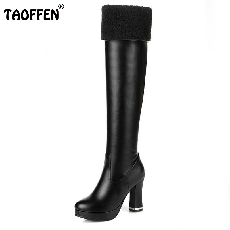 Women Over The Knee High Knight Boots Round Toe Thick High Heels Mature Woman Shoes Autumn Winter Proof Platform Boot Size 31-43 2016 autumn winter hot selling royal blue suede over the knee high heel boots round toe thick heels high boots for woman