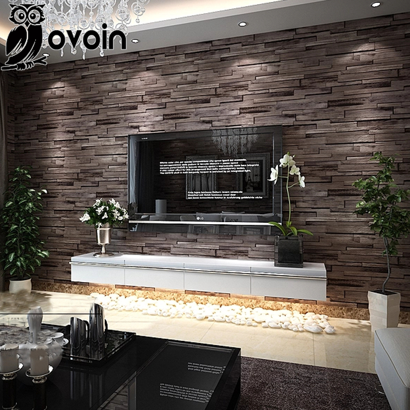 Modern BrownBeige Background Wall Coverings Vinyl Faux Brick Wallpaper Retro 3D Effect Wood