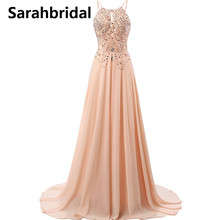 Sexy ever pretty prom dresses 2017 with A Line Backless Floor Length and Chiffon Sequins Crystal Beading prom dress SD132