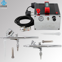 OPHIR Body Paint 2x Dual Action Airbrush Kit with Air Compressor for Nail Art Make up Model Paint Air Brush Gun _AC091+004A+073