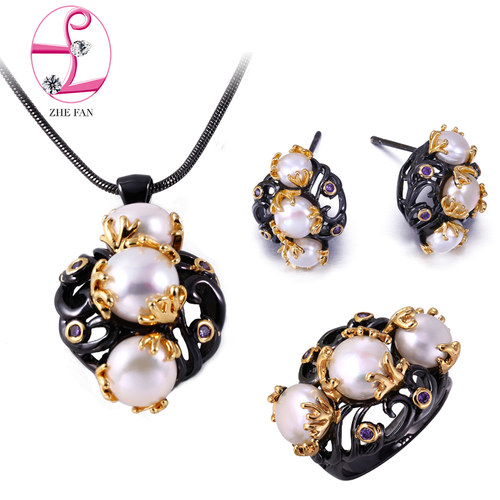 Zhe Fan White Shell Pearls Jewelry Set 2 Tone Black Gold Color Vintage  Simulated Pearl Necklace