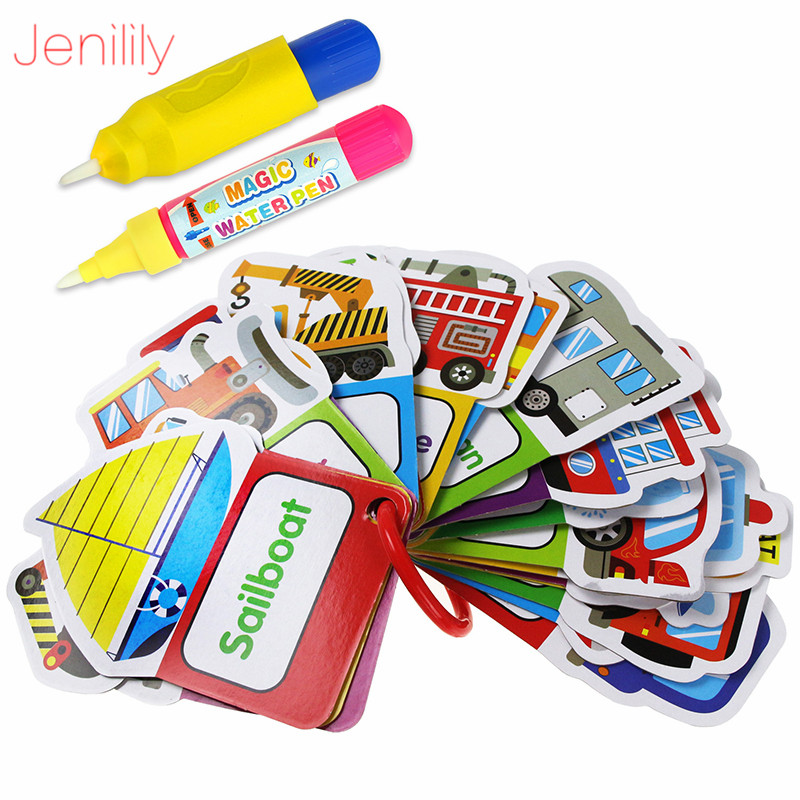 4 Styles Magic Water Drawing Cards Board Kids Toys With 2 Water Pen Learning Draw Educational Painting Toys For Children
