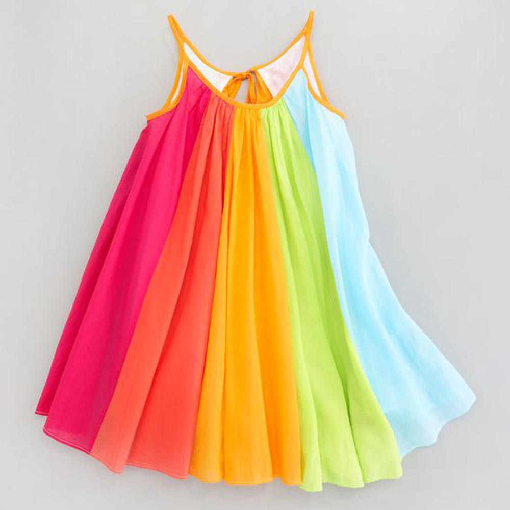 Hot Sale New18 Toddler Kids Baby Girl Princess Clothes Sleeveless Chiffon Tutu Rainbow Dresses baby  dress summer 15