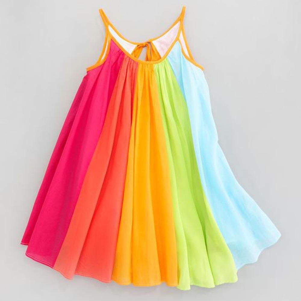 Venta caliente Nuevo 2018 niño niños niña princesa ropa sin mangas gasa Tutu vestidos Arco Iris del bebé verano #15
