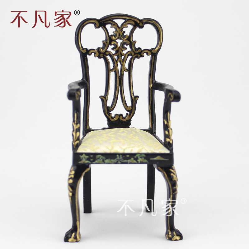 dollhouse 1/12 scale miniature furniture Dining black Hand painted Landscape painting Arm chair fine dollhouse 1 12 scale special offer miniature furniture painted dressing table