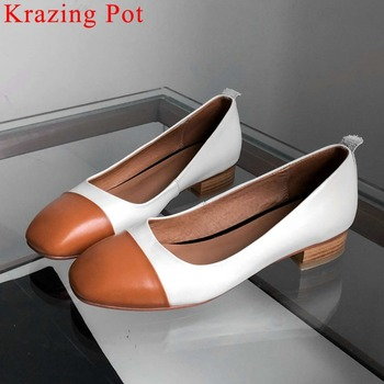 2019 office lady mixed colors fashion woman pumps genuine leather square toe chunky low heels British gentle lady pumps L4f1