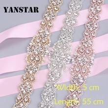 YANSTAR (1pcs)  Wholesale HandmadeRose Gold Rhinestones Appliques Sewing On Bridal Wedding Dresses Belt