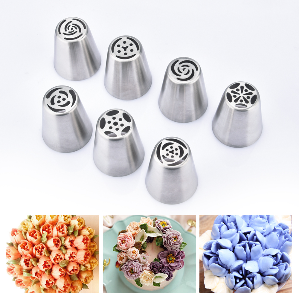 7pcs Cream Nozzles Stainless Steel Icing Piping Tips Rose Tulip Flower DIY Cake Decoration Tool Kitchen Accessory Baking Supply-in Baking & Pastry Tools from Home & Garden