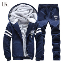 Winter Sweat Suits Men Tracksuit Two Piece Sets Jacket+Pants Casual Hoodies Men's Sportswear Sweatshirts Mens Tracksuits Set(China)