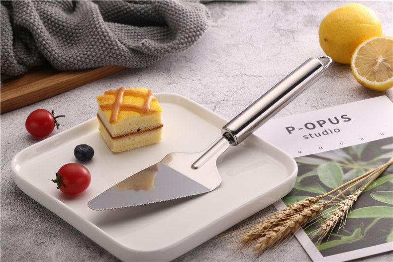 1PC 410 Stainless Steel Fried Shovel Spatula Steak Pizza Grasping Cutters Spade Pastry BBQ Tools Kitchen Utensils PB 008 in Baking Pastry Spatulas from Home Garden