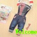 Младенцы джинсы девочка / мальчик han2 ban3 деним комбинезон осень младенческой брюки и