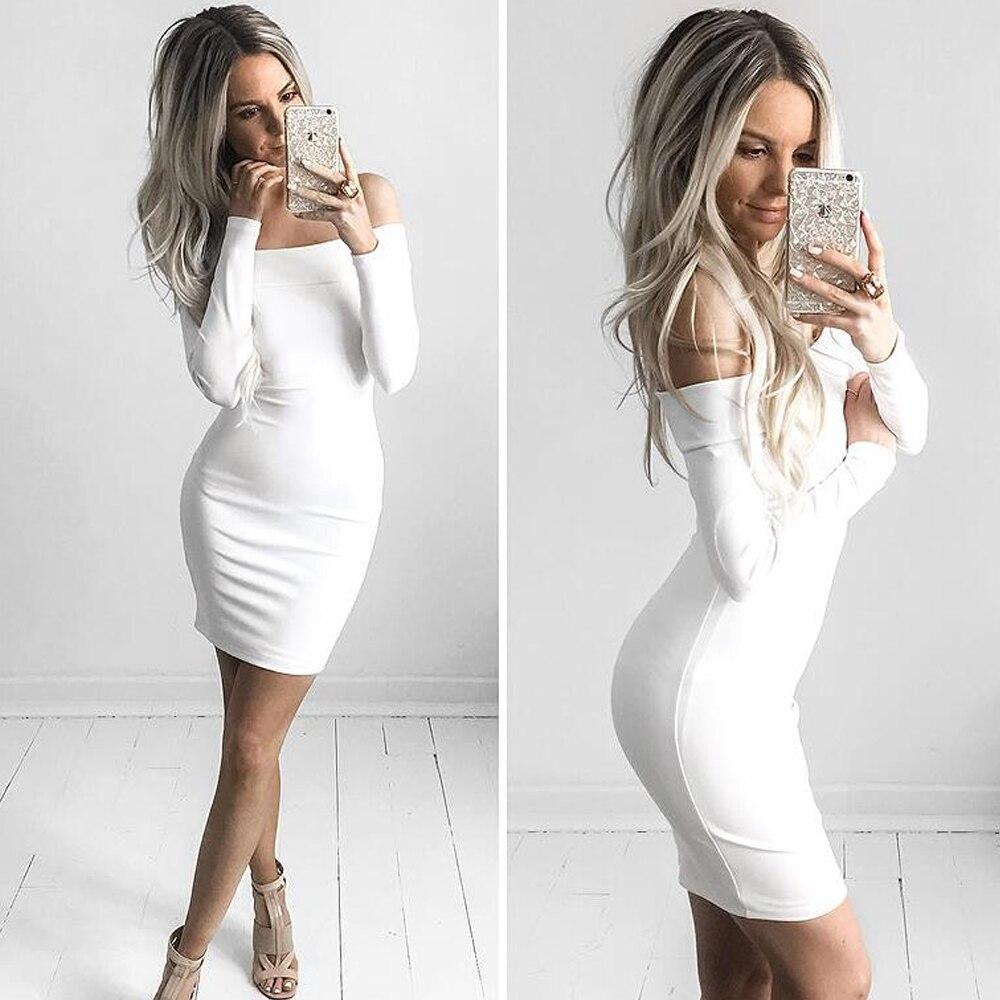 Free Shipping 2017 Women Off Shoulder White Black Bandage Dress Plus
