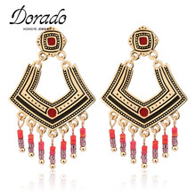 Dorado High Quality Gold Silver Color Bohemian Beadeds Long Tassel V Shaped Earrings Pendientes Cruz Jewelry