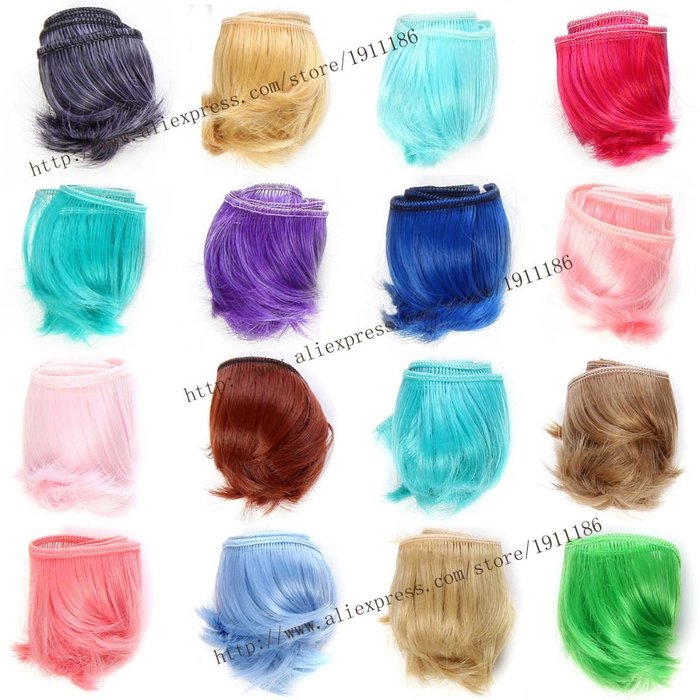 1 piece 5cm x 100cm curly doll wigs hair for doll 1/3 1/4 1/6 BJD SD diy brunette blonde coffee  Multi-color 25cm 100cm doll wigs hair refires bjd hair black gold brown green straight wig thick hair for 1 3 1 4 bjd diy