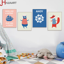Kawaii Pirate Animal Bear Hippie Poster Nordic Boy Kid Room Wall Art Home Decor Canvas Painting Print Picture No Frame(China)