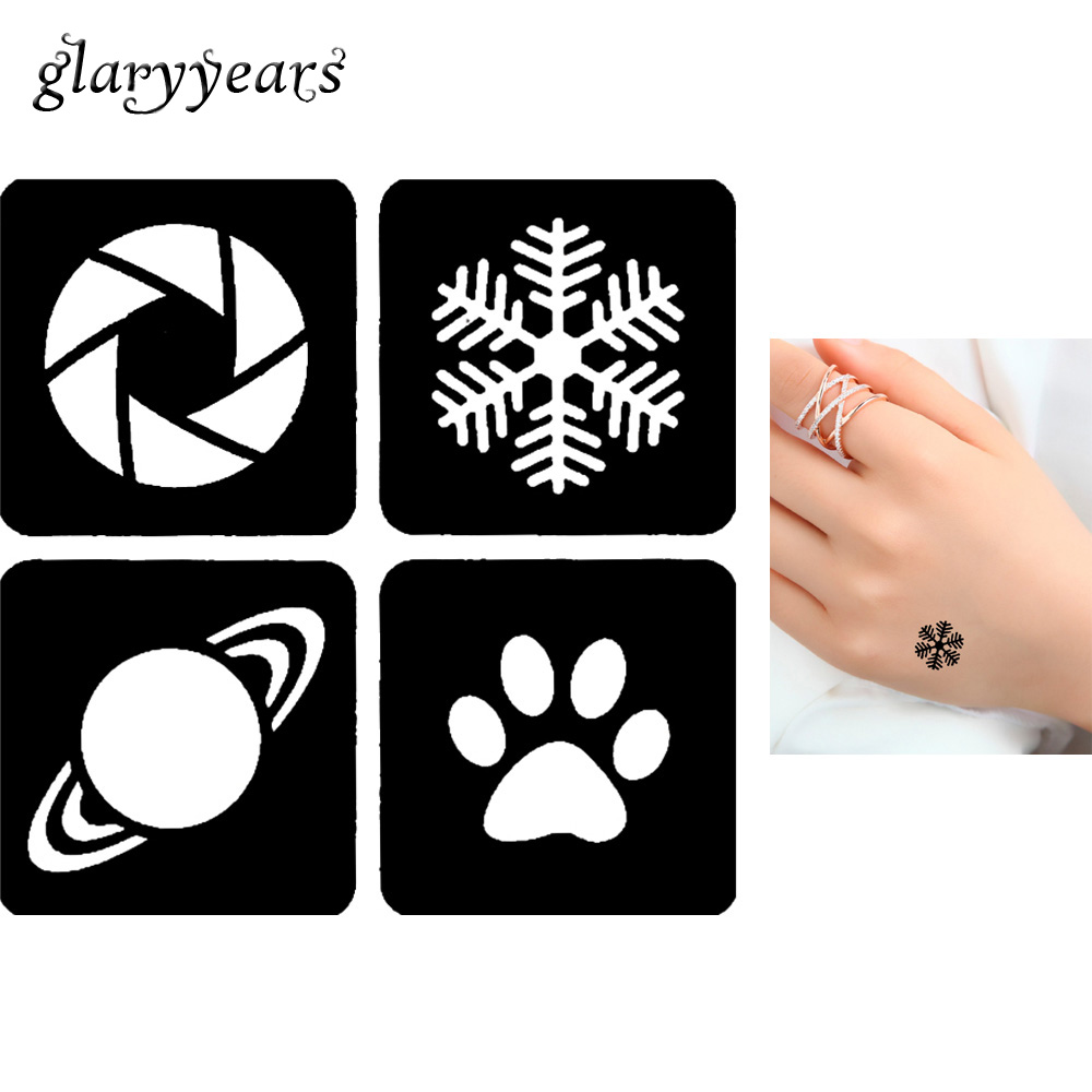 Hot Sale 1 Piece Small Glitter Henna Tattoo Stencil Airbrush