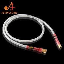 ATAUDIO כסף מצופה QED Hifi usb כבל באיכות גבוהה סוג B DAC נתונים USB כבל