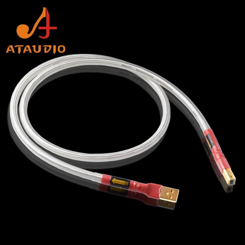 Посеребренный QED Hi-Fi usb-кабель ATAUDIO, высококачественный USB-кабель типа A-B DAC для передачи данных