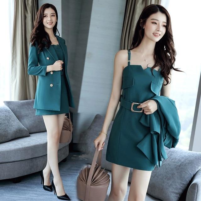 Autumn Business Suit Elegant Office Dress Lady Work 2 Pieces Set Long Sleeve Blazer and Sleeveless Dress Suit Set 5