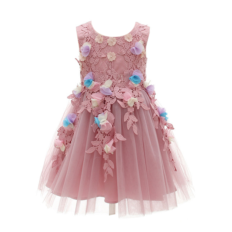 Foreign trade purple hand-stitched flower children's piano costume flower girl dress female
