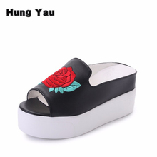 Floral Embroidery Slides Women Fashion Platform Sandals Summer Chinese Style Peep Toe Slippers Shoes Woman Wedges Heel Size US 8