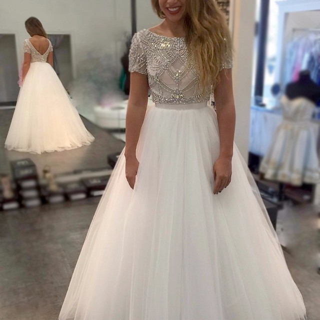 Ivory Short Sleeve Formal Dresses
