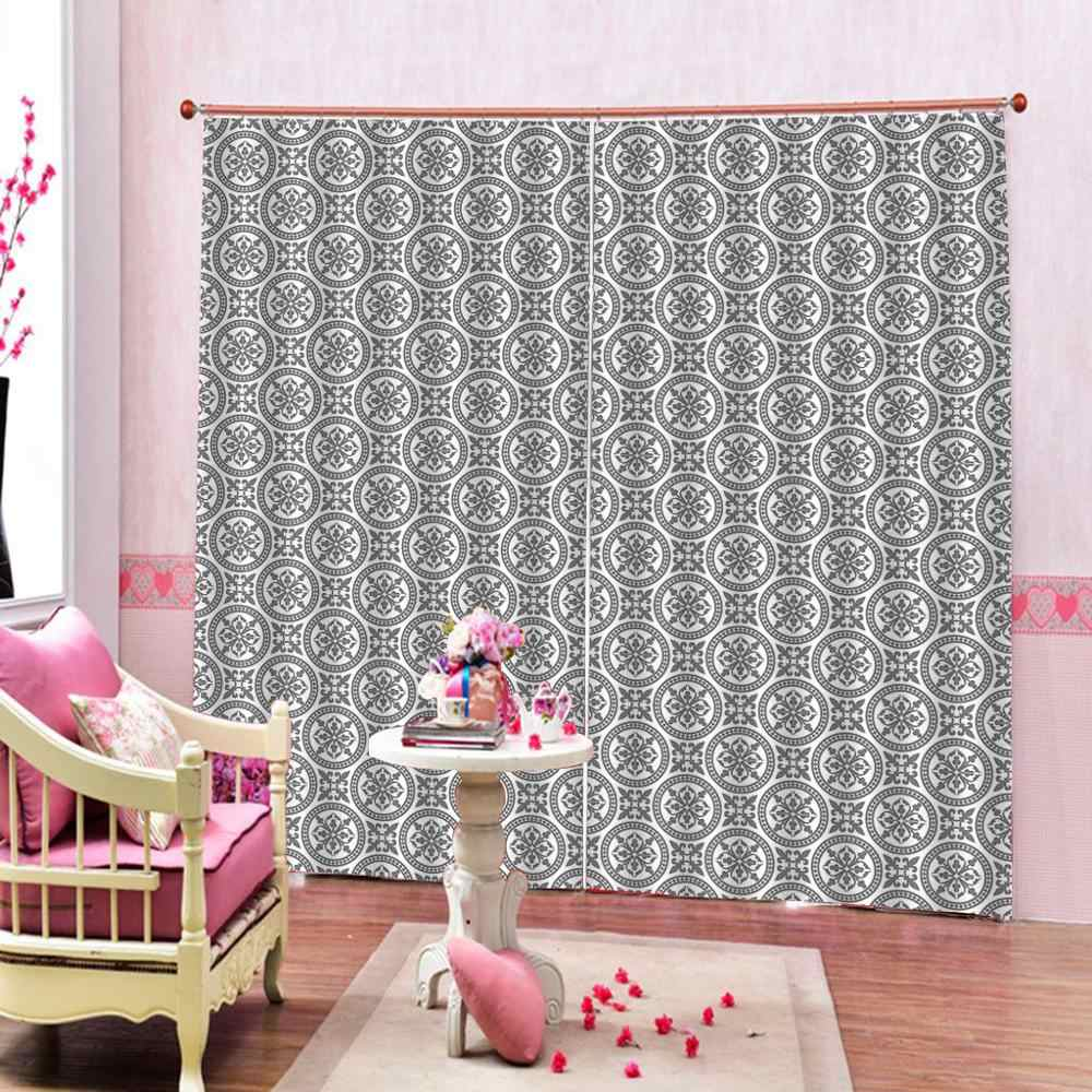 High quality custom 3d curtain fabric  chinese pattern  Curtain Luxury Blackout grey curtains