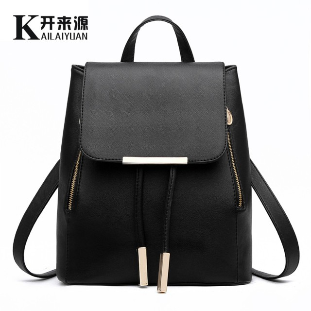 7eca54e62617 KLY 100% Genuine leather Women backpack 2018 New wave of female Korean student  fashion casual backpack shoulder bag