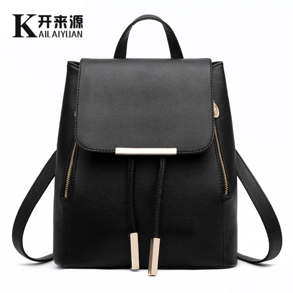 KLY 100% cuero genuino mochila de las mujeres 2018 nueva ola de Mujeres de Corea moda estudiante mochila informal bolsa de hombro