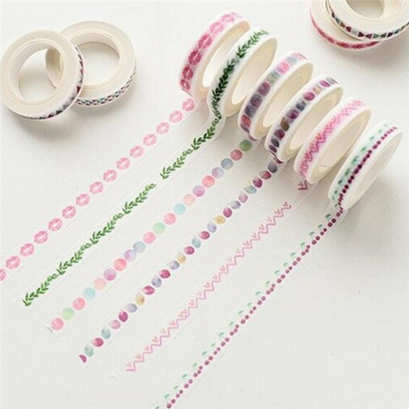 Print Flower Dividing Line Japanese Style Paper Masking Tape Slim Washi Tape Dividing Boarder Lines DIY Sticker 7mm*10m Randomly