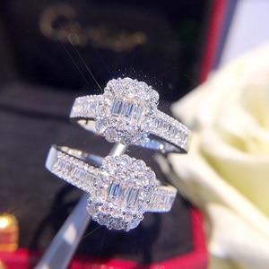 Image 5 - Anillo de oro puro de 18 quilates con diamante Natural, anillo de oro sólido AU 750, joyería fina clásica de lujo para fiesta, novedad de 2020