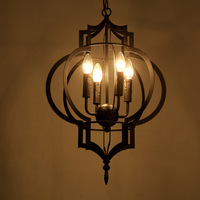 Creative Personality Vintage Chandelier Lamp Restaurant Cafe American Living Room Pendantlight Wrought Iron E14 4 Heads