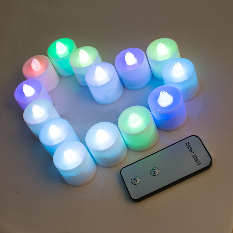 Set of 24 LED Lighted Flickering Votive Style Flameless Gradient Colors Candles with Remote Control