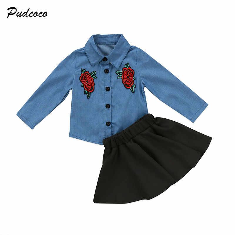 Модные Для детей Одежда для девочек комплект Вышивка цветочный деним Топы  Корректирующие + пачка черная юбка fc8d092a92e