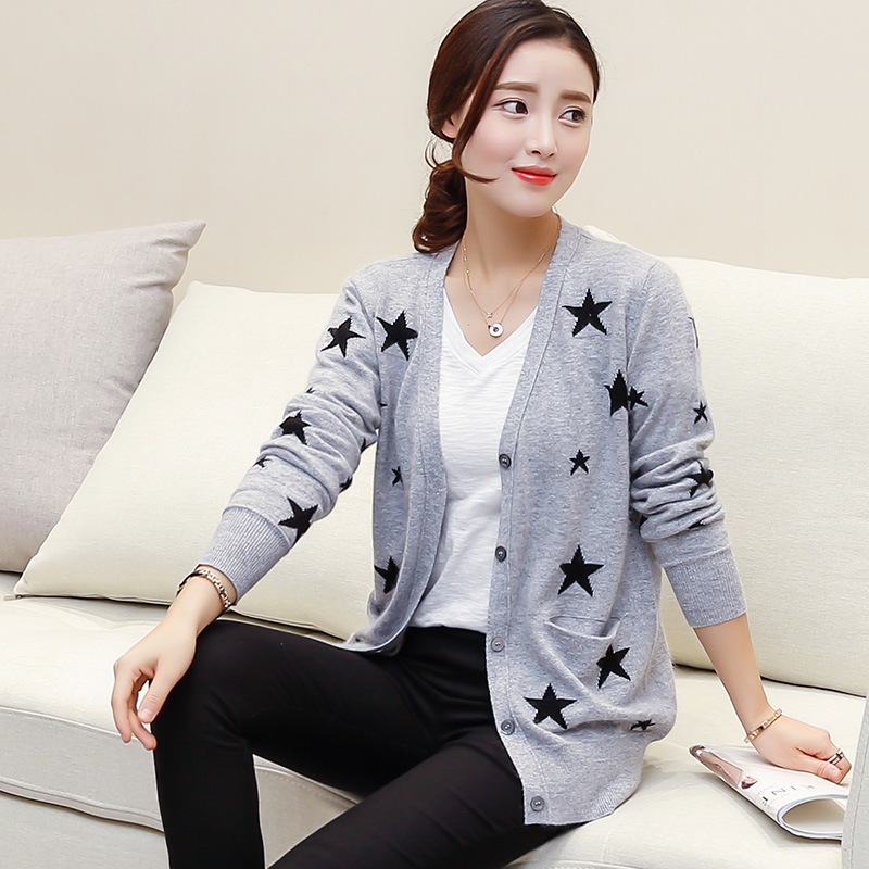 Women Cardigans Spring / Autumn New Fashion Star 100% Cashmere Knitted Sweaters Female Jackets Woman Knitted Tops Clothes Shirts