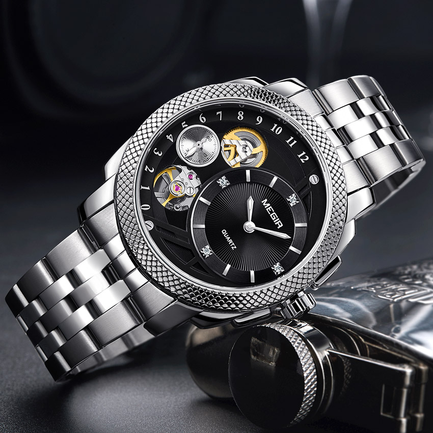 Megir Stainless Steel Men Watches 2018 Luxury Brand Quartz Sport Army Military Clock Men Watches Automatic Mechanical Watch Men winner automatic mechanical watches men s gold luxury steel wrist watch men 2018 military sport skeleton military army clock