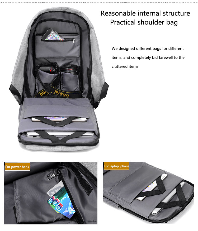 Third Generation USB Charge Anti Theft Backpack 15inch Laptop Backpacks Fashion Bags Bagpack Blue 15inch 33