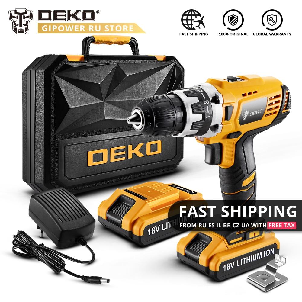 DEKO GCD18DU2 18V DC Cordless Drill 2 Speed Lithium Battery Home DIY Electric Screwdriver Mini Power