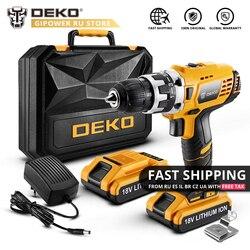 DEKO GCD18DU2 18V DC Cordless Drill 2 Speed Lithium Battery Home DIY Electric Screwdriver Mini Power Driver LED Power Tools Set