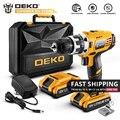 DEKO GCD18DU2 18 в DC Аккумуляторная дрель 2 скорости литиевая батарея для дома DIY электрическая отвертка Мини Драйвер питания светодиодный набор эл...