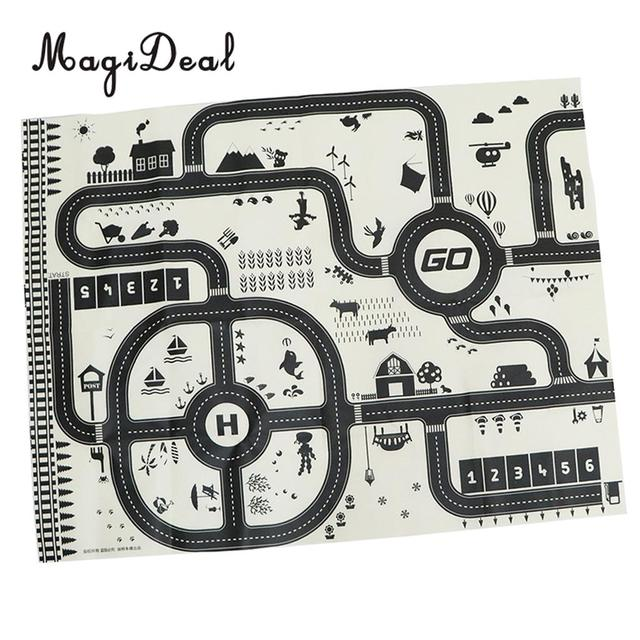 Kids Rug Play Mat With City Traffic Roads Map For Cars Train Game