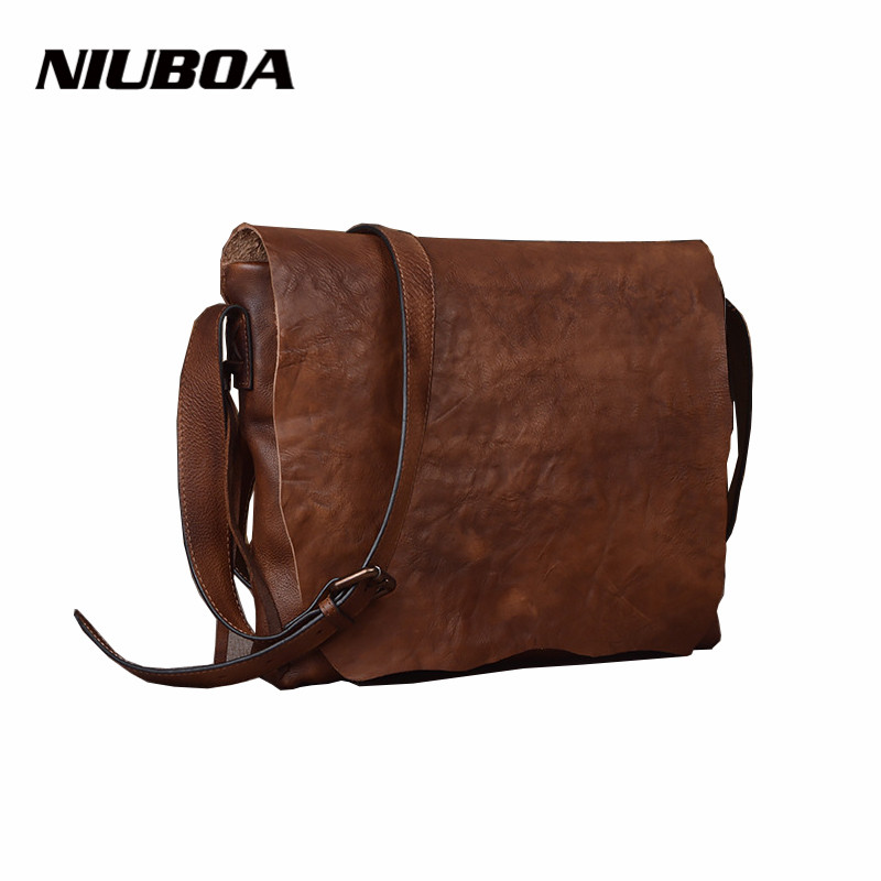 NIUBOA Women's Shoulder Bags Genuine Leather Vintage Single Messenger Bag Lady Hot Women Hand-rubbed Skin Leather Crossbody Bags