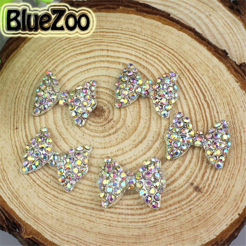 ФОТО BlueZoo 100pcs/pack Big 3D Colorful Bow Tie AB Rhinestones Nail Art Alloy Decoration Glitters Slices 15mm*12mm Free Shipping