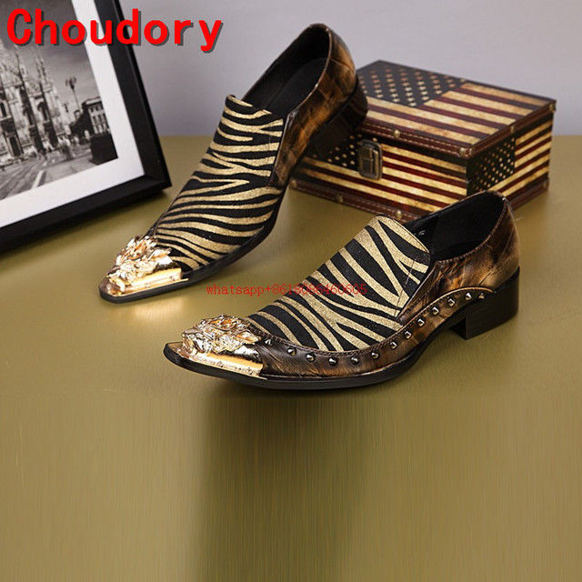 Choudory mens pointed toe dress shoes studded gold iron toe spiked loafers  zebra luxury formal shoes wedding dress oxford dcf7e1d7ec04
