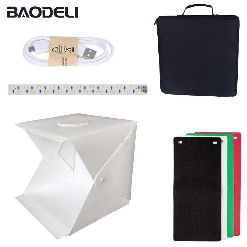 BAODELI Portable 40*40*40 cm photographie boîte à lumière pliante Flash Studio Led Softbox pour téléphone caméra en direct 4 couleurs Studio toile de fond
