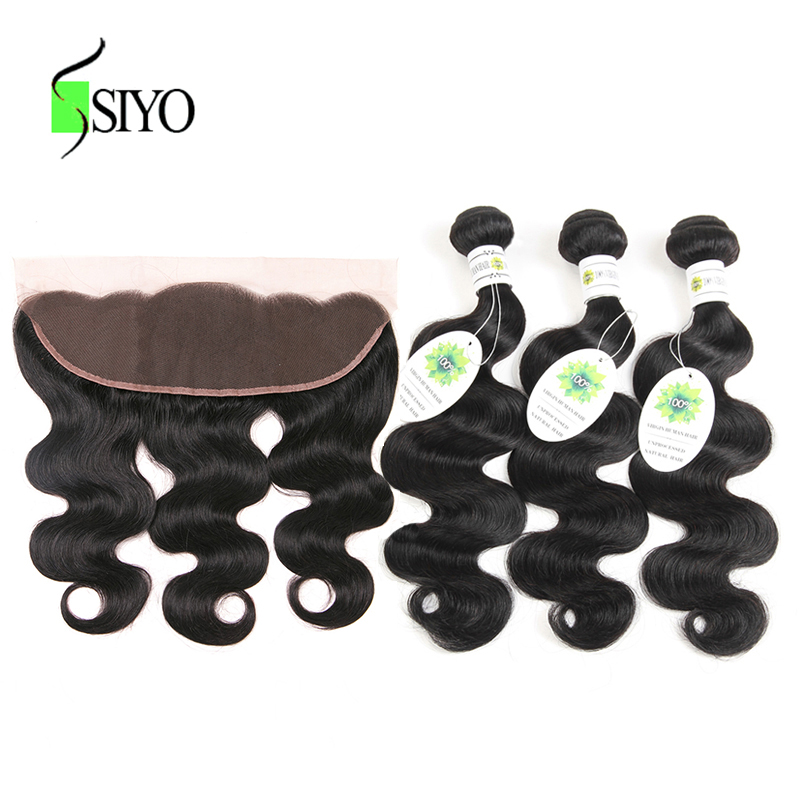 SIYO 100% Malaysian Body Wave Bundles With Frontal 3Pcs Weave With Closure Natural Black Color Non-remy Hair Extensions