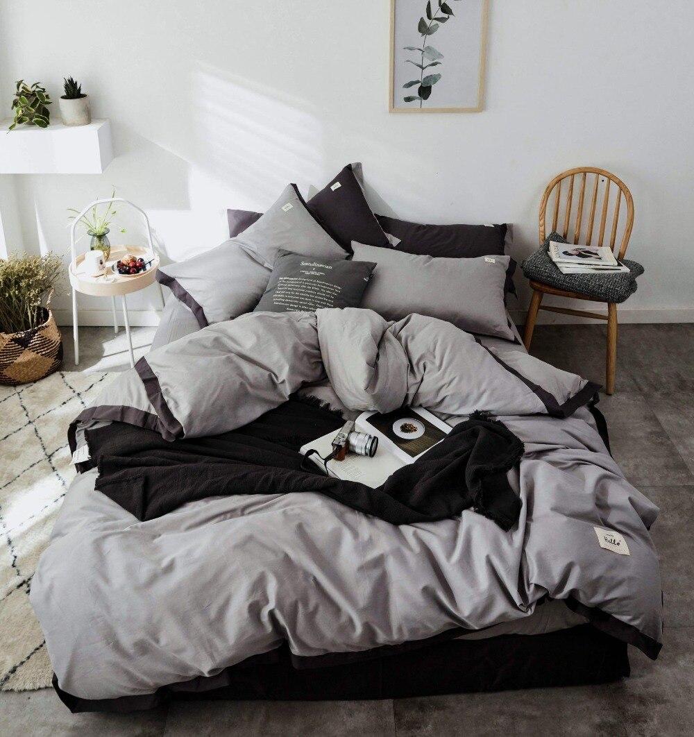 Ensemble de literie Style nordique ensemble de lit luxe coton Twin Queen King Size couleur chaude housse de couette ensemble drap de lit 3 styles - 6